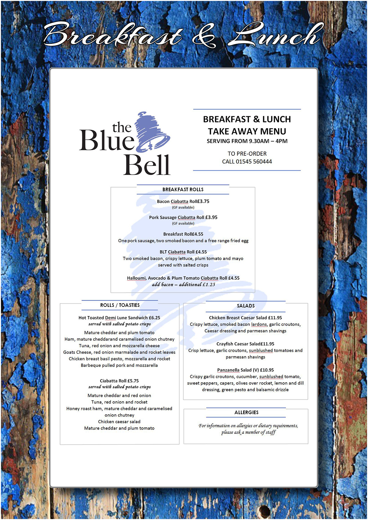 bluebell deli and bistro takeaway menu